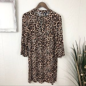 a.n.a NWT Leopard Print Flare Sleeve Dress